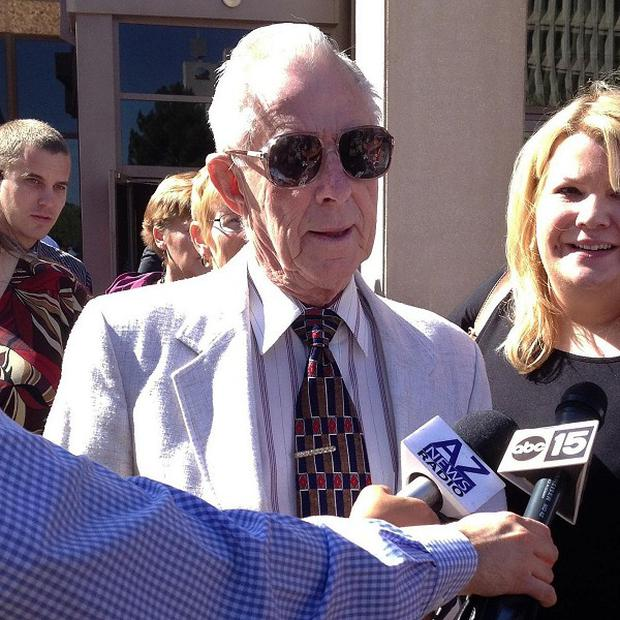 George Sanders, 86, who carried out a mercy killing by shooting his ailing wife in the head, has been sentenced to probation (AP)