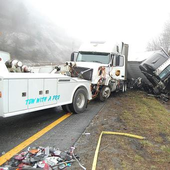 The scene following a 75-vehicle pile-up on Interstate 77 near the Virginia-North Carolina border in the US (AP)