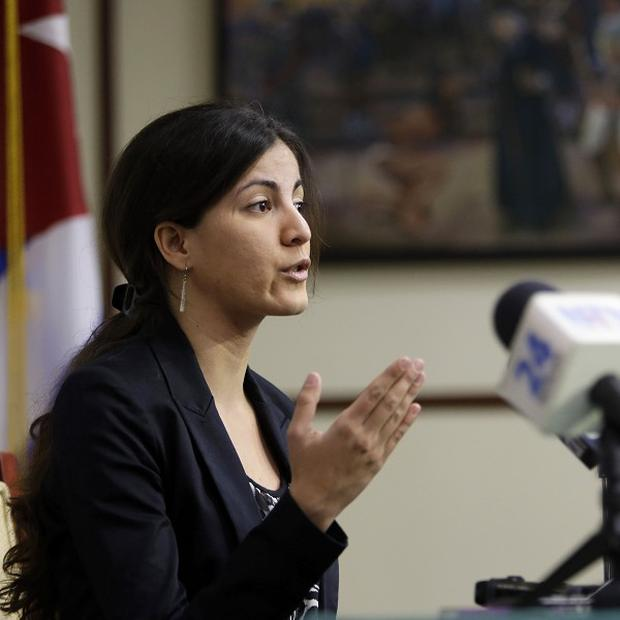 Rosa Maria Paya speaks at the University of Miami's Institute for Cuban and Cuban-American Studies (AP/Lynne Sladky)