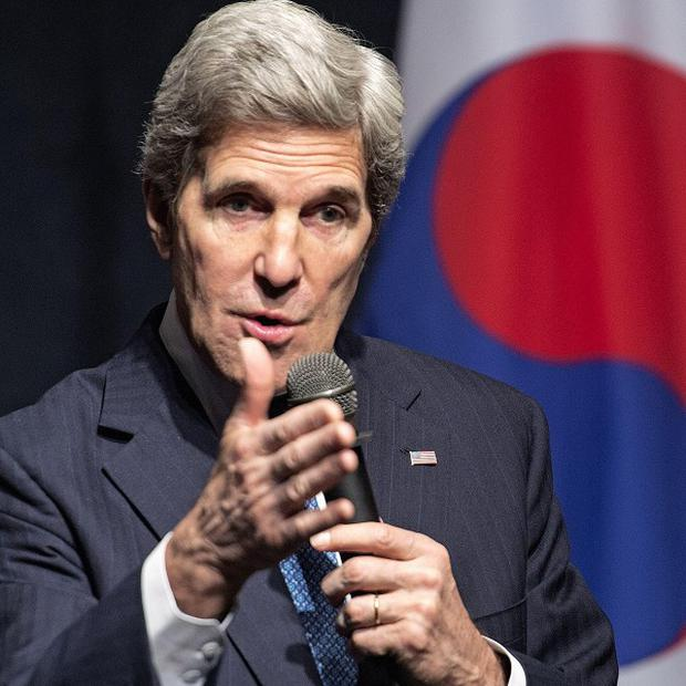 John Kerry delivers remarks to US Embassy staff shortly before leaving Seoul, South Korea