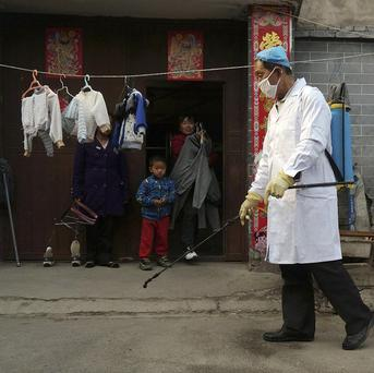 A family watches a worker spray disinfectant in Naidong village, where a boy tested positive for the H7N9 virus (AP)