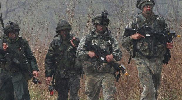US and South Korean army soldiers on military exercise in Paju near the border with North Korea. (AP)