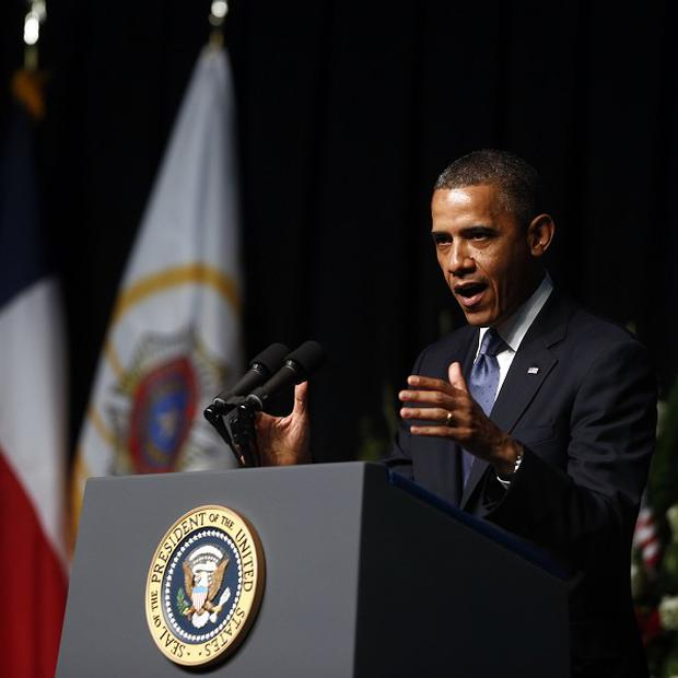 Barack Obama speaks at the memorial for firefighters killed at the fertilizer plant explosion in West, Texas (AP/Charles Dharapak)