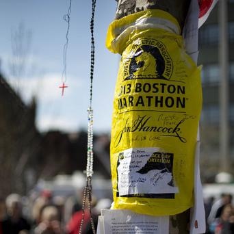 A makeshift memorial honoring the victims of the Boston Marathon bombing (AP)