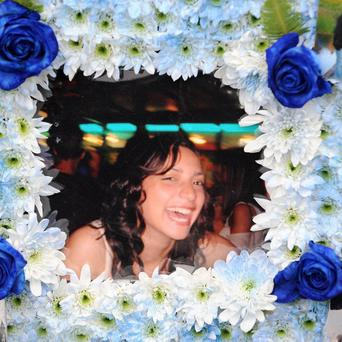 A floral tribute at the funeral of Meredith Kercher, who was murdered in her flat in Perugia, Italy, in 2007