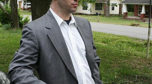 Ricin letter suspect Everett Dutschke outside his home (AP)