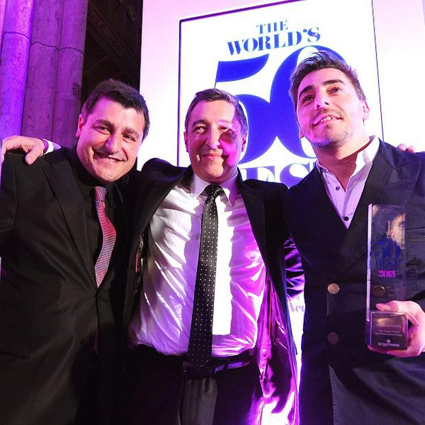 El Cellar de Can Roca wins the top accolade, with head chef Joan Roca, centre, at the 50 Best Restaurants 2013 awards