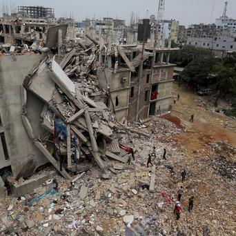The building housing numerous clothing factories collapsed on April 24 (AP)