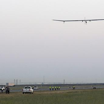 The Solar Impulse plane takes off on a multi-city trip across the United States (AP)
