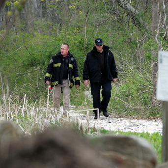 Authorities searched the woods near the UMass-Dartmouth campus as part of the marathon bombing investigation (AP)