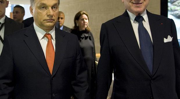 Hungarian prime minister Viktor Orban, left, with president of the World Jewish Congress Ronald S Lauder (AP/MTI)
