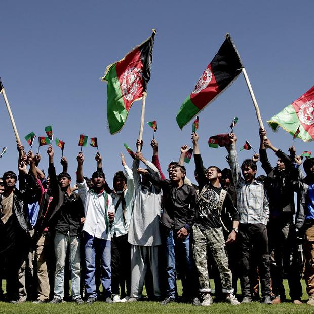 Protesters chant slogans against Pakistan during a demonstration near Kabul, Afghanistan (AP)