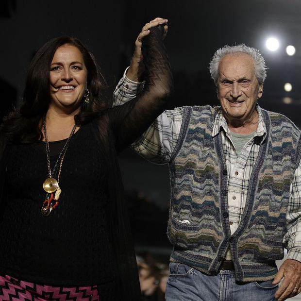Ottavio Missoni and his daughter Angela acknowledge the applause of the audience after presenting their Missoni Fall/Winter 2011 collection, in Milan (AP)