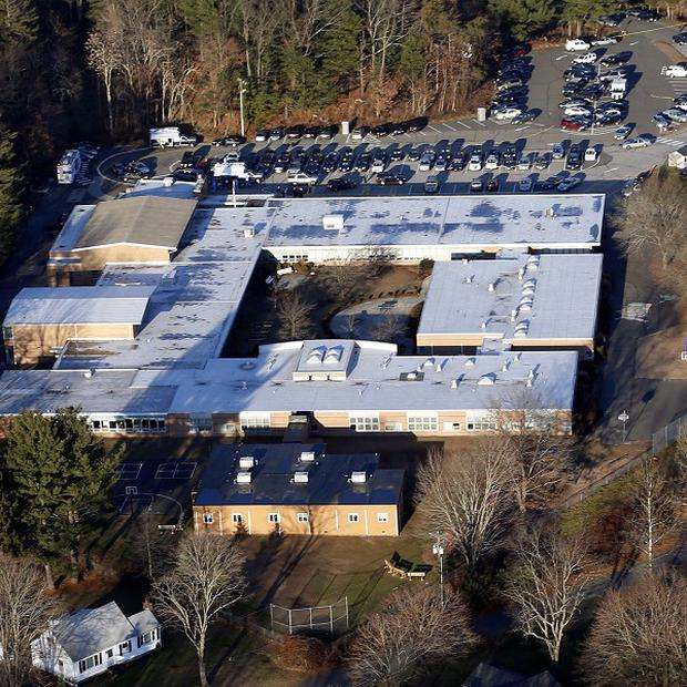 Sandy Hook Elementary School in Newtown, Connecticut, where a gunman shot 20 young children and six staff dead (AP/Julio Cortez)