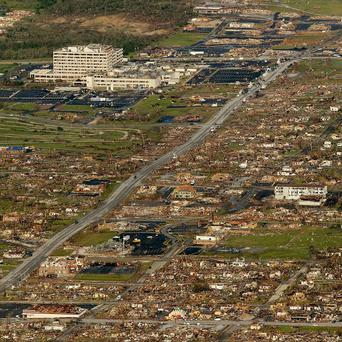The path of a powerful tornado through Joplin, Missouri in 2011 (AP/Charlie Riedel)