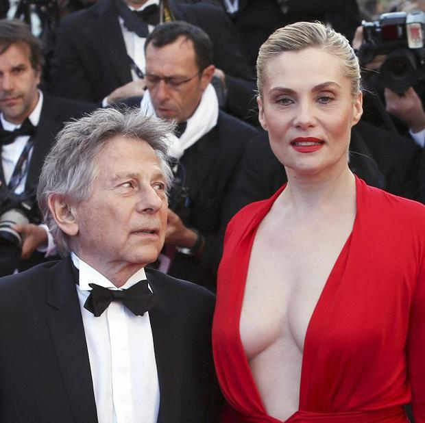 Roman Polanski and actress Emmanuelle Seigner at the screening of Venus in Fur in Cannes (Joel Ryan/Invision/AP)