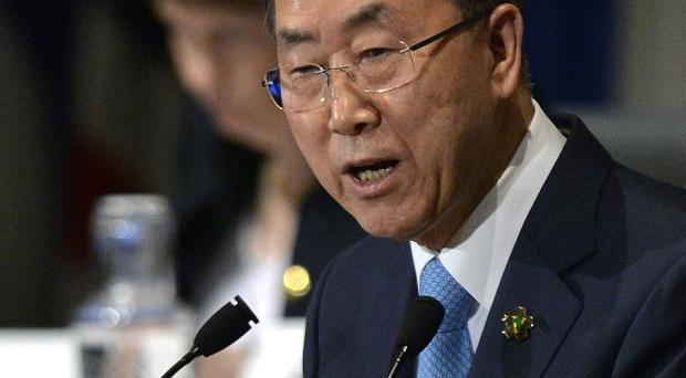 UN secretary-general Ban Ki-moon, who is probing chemical weapons use in Syria (AP)