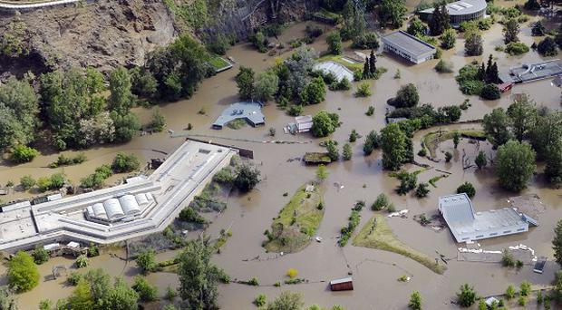 The Prague Zoo flooded by the swollen river Vltava (AP)