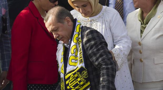 Turkish prime minister Recep Tayyip Erdogan after delivering a speech on the protests (AP)