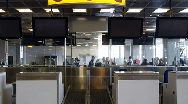 Empty check-in desks at Marseille-Provence Airport (AP)