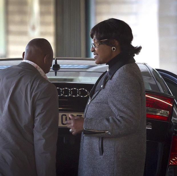Nelson Mandela's ex-wife Winnie Madikizela-Mandela leaves after visiting the Mediclinic Heart Hospital (AP)