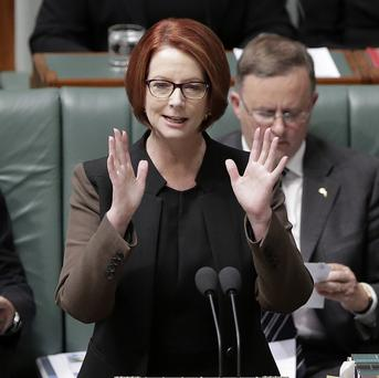Australian prime minister Julia Gillard said the loser of the ballot should quit parliament at the election (AP)
