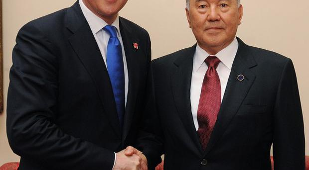 David Cameron is in Kazakhstan to hold talks with president Nursultan Nazarbayev
