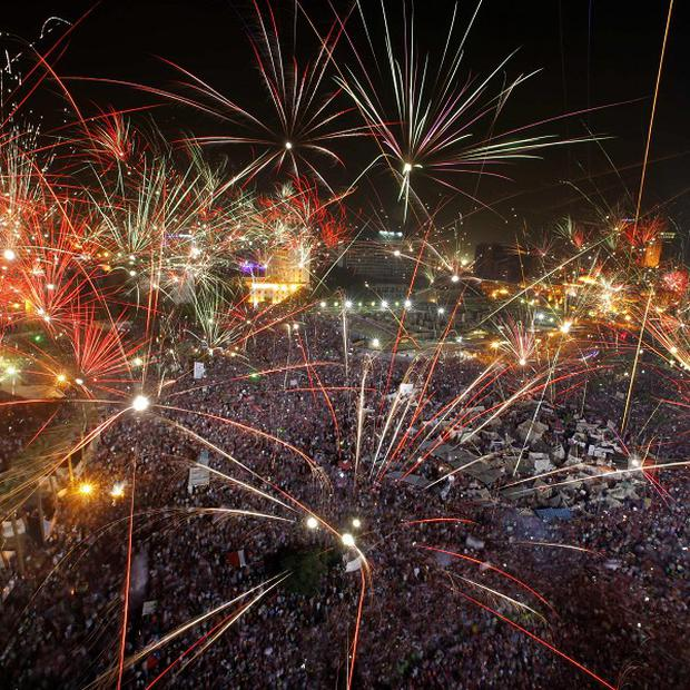Fireworks light the sky in Tahrir Square in Cairo, Egypt(AP/Amr Nabil)