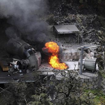 Flames burn from a ventilation shaft above the Pike River mine after a methane blast which killed 29 people in 2010 (AP)