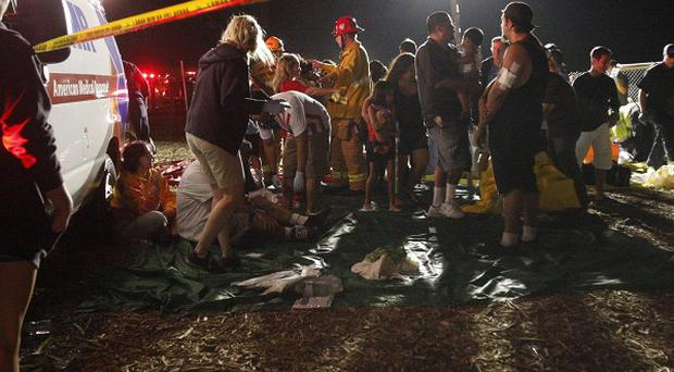 A triage area is set up at Ranch Santa Susana Community Park in Simi Valley, California (AP/The Ventura County Star,Wendy Pierro)