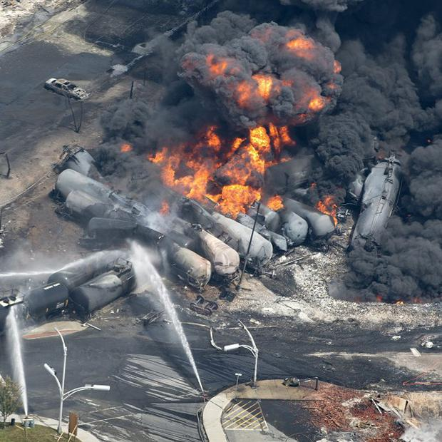 The train carrying crude oil derailed in Lac Megantic, Quebec, Canada (AP)