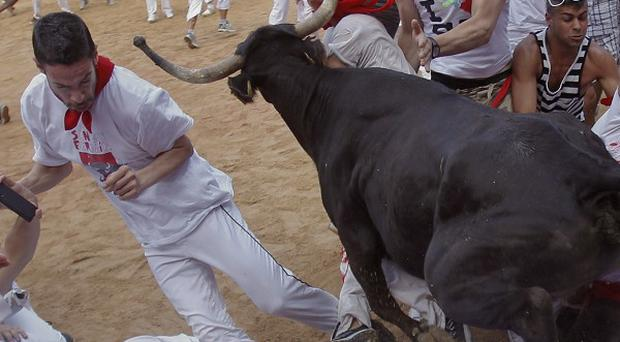 Revellers are trampled by a Torrestrella ranch bull at the bull ring at the San Fermin fiestas, in Pamplona (AP)