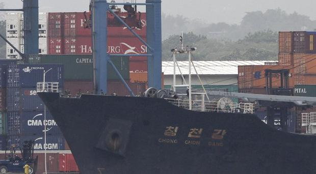 North Korean-flagged cargo ship Chong Chon Gang was stowed with weapons bound from Cuba to North Korea (AP/Arnulfo Franco)