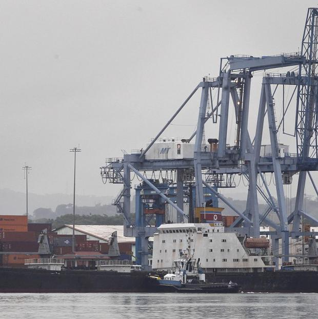 A North Korean-flagged cargo ship at a container terminal in Panama (AP)