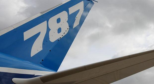The tail fin of a Boeing Dreamliner 787
