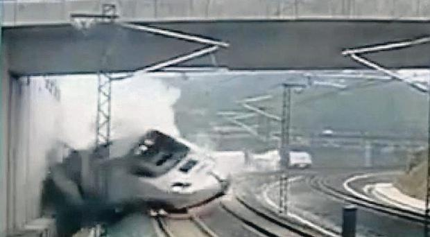 Security camera video footage of the train derailment