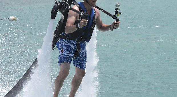 Victor Verlage says the Jetlev jetpack is 10 times better than kite surfing but it has sparked safety fears (AP)