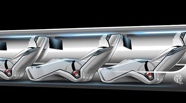 The Hyperloop system would use a large tube with capsules inside that would float on air, travelling at more than 700 miles per hour (AP)