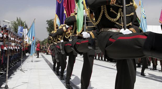 The Honour Guard parades during Independence Day celebrations in Kabul (AP)