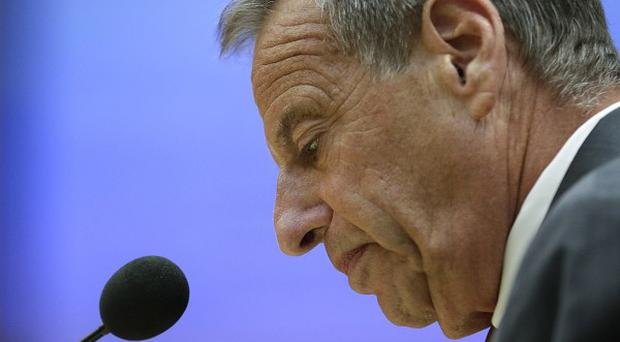 San Diego Mayor Bob Filner speaks after agreeing to resign at a city council meeting (AP)