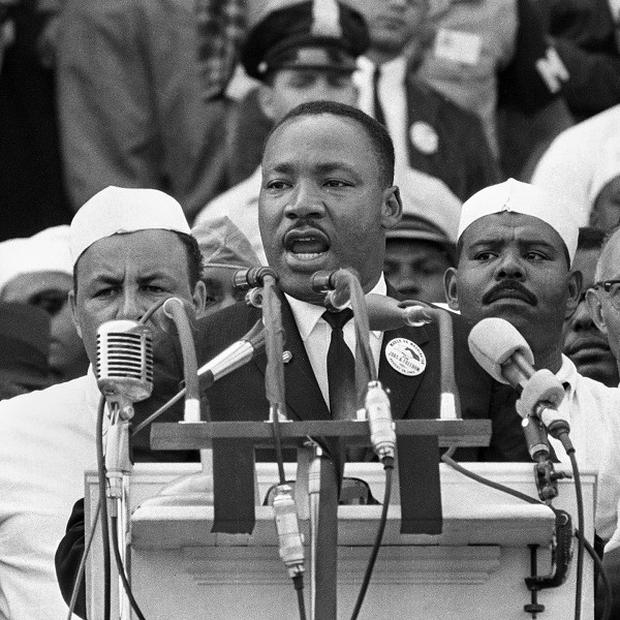 Martin Luther King making his famous 1963 speech (AP)
