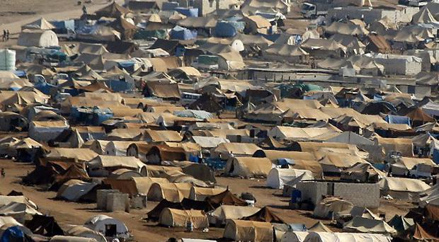 A refugee camp in the Syrian territory near the Turkish border town of Cilvegozu (AP)