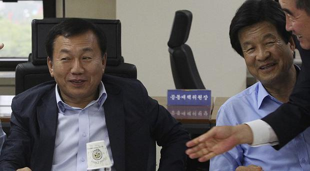 Officials from the Kaesong Industrial Complex Companies Association at a press conference about reopening the complex (AP)