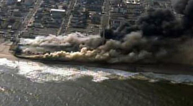 A fire rages in Seaside Heights, New Jersey (AP/Fox 29)