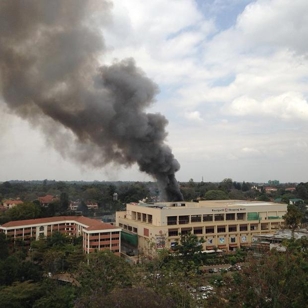Heavy smoke rises from the Westgate Mall in Nairobi, Kenya (AP)