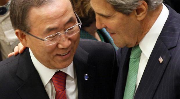 Ban Ki-moon and John Kerry at the UN General Assembly (AP/David Karp)