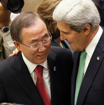UN Secretary General Ban Ki-moon meets US Secretary of State John Kerry at the UN General Assembly (AP/David Karp)