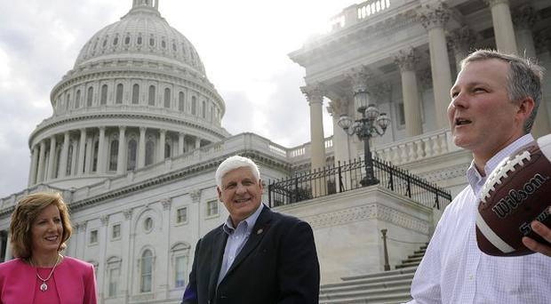 Republican Reps Vicky Hartzler, Bob Gibbs and Tim Griffin on the US Senate steps.