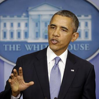 US President Barack Obama speaks in the James Brady Briefing room of the White House in Washington (AP)