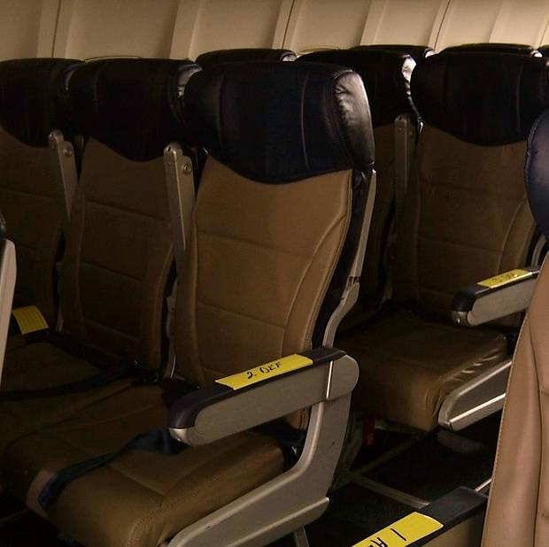 Rows of the new slimline airline seats awaiting installation (AP)
